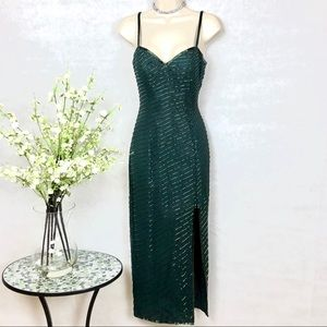 CACHE 100% Silk Forest Green Sexy Beaded Gown - 4